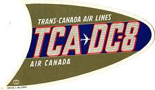 Vintage Airline Luggage Label TRANS-CANADA AIR LINES TCA DC-8 Air Canada diecut
