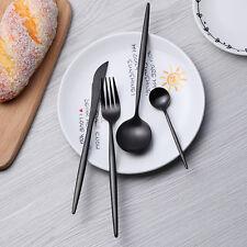 4X Stainless Flatware Steel Cutlery Fork Knife Spoon Teaspoon Kitchen Set Black