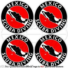 """MEXICO SCUBA DIVING Flag-Mexican Map Shape 50mm (2"""") Circular Stickers Decals x4"""