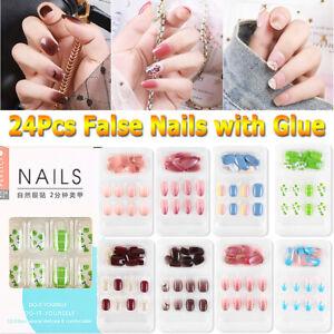 24Pcs Reusable Stick On Nails Reusable Full Cover False Nail Artificial Tips