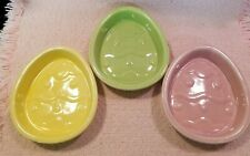 Ceramic Egg Easter Treat Candy Appetizer Dishes Set Of 3