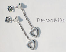 Tiffany & Co Open Heart Link Sterling Silver Drop Stud Earrings