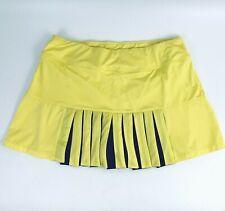 FILA Women's Argyle Car Wash Pleats Skort Tennis Skirt Yellow/Navy Blue Sz M New