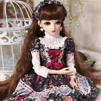 1/3 BJD Puppe 60cm BJD Doll Mit Kleid Perücke Schuhe Augen Mädchen Puppen Dress