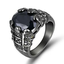 18K Gold Filled Fashion Engagement Rings Mens Halo Size 8 Band Black Sapphire