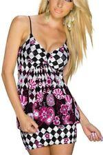 Sexy Femmes Girly Long Top Fleurs Carreau Print 34/36 S/M 38/40 L/XL Coloré Pink NEUF