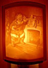 Porcelain Garden Lithophane Night Light Hand Made NR278 SANTA'S SURPRISE Xmas