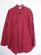 Sheplers Mens Western Shirt Size 18 1/2 - 35 Red Pearl Snap Long Sleeve Button U
