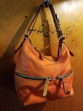 Dooney & Bourke Orange Nylon/Leather Suede Shoulder Bag Tote Handbag  J0348792