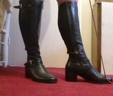 BLACK LEATHER KNEE HIGH RIDING BOOTS SIZE 5-MISTRESS FETISH INTEREST-OFFICE
