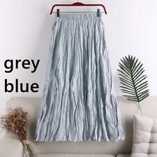 Women Pleated Skirt High Waist Elastic Skirts Solid Plain Casual Loose Retro New