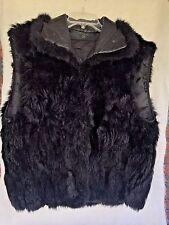 Vintage Black Rabbit Fur Vest Size Medium Leather Collar Zipper VTG