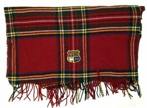 $278 Polo Ralph Lauren Men Red Blue Plaid Cashmere Oversized Logo Scarf One Size