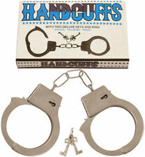 METAL HANDCUFFS FANCY DRESS HEN DO STAG DO KIDS TOYS ROLE PLAY POLICEMAN