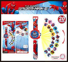Fun Movie Super Heroes Spider-Man Figures Projection Wrist Watch Kids Toy Gift
