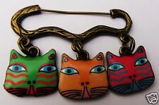 COLOURFUL CAT FACE CHARM BRONZE TONE BROOCH / PIN A