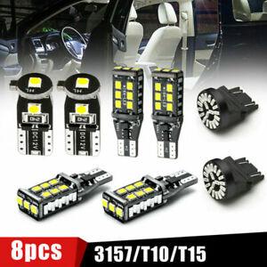 8Pcs Car LED Package Kit For License Plate Lamp Reverse Backup Brake Light Bulbs