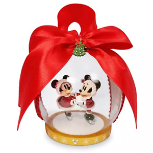 Disney Parks Mickey and Minnie Ice Skating Globe Ornament