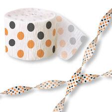 30ft Halloween Black Orange Polka Dots Spots Crepe Paper Streamer Decoration x2