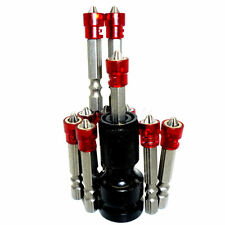 """10pcs Drywall Screwdriver Bit 50mm No2 Phillips Magnetic W/ 1/2"""" To 1/4"""" Adapter"""