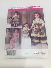"Simplicity Sewing Pattern 1793 A Child's Dress, Pants, Shorts 18"" Doll New UNCUT"