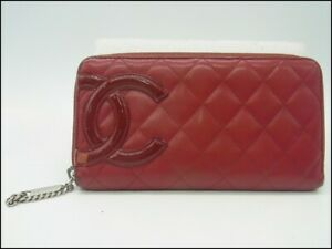 Auth XB07 Chanel Cambon line Round Zipper Wallet with serial seal from Japan