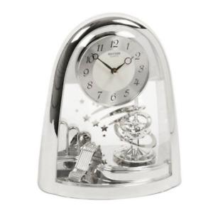 Rhythm Contemporary Motion Mantel Clock Silver Chrome Spiral Rotating Pendulum