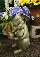 """13""""H Aluminum Whimsical Story Time Mother Rabbit Reading Book To Her Kit Statue"""