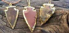 Gold Plated Arrowhead Stone Crystal Necklace Rustic Outdoors Jewelry (GPAN)