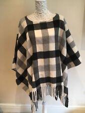 Michael Kors Poncho Cape Coat Size L/ XL Wool Blend Fringe Tassel Black & White