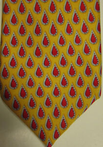 NEW $125 Robert Talbott Yellow With Red and Silver Tear Drops Silk Tie