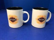 Harley Davidson Motor Cycle 2 Mugs Coffee Cups An American Legend White w Flames