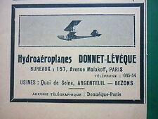 1910'S PUB HYDROAEROPLANE DONNET-LEVEQUE ARGENTEUIL BEZONS SEAPLANE FRENCH AD