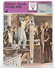 THOMAS EDISON Breakthrough Lightbulb Invention Menlo Park STORY OF AMERICA CARD