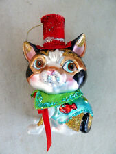 "Glittery Cat Blown Glass Ornament Calico Cat Red Top Hat 5"" Nib"