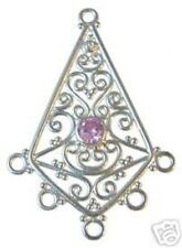 CH80 Sterling Chandelier Findings w/Pink Crystals -1 Pr