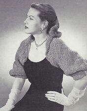 Vintage Crochet PATTERN to make Plush Shrug Collar Cuff Prom Evening Wrap