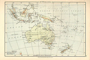 c1875 MAP ~ AUSTRALASIA ~ AUSTRALIA MALAY BORNEO NEW GUINEA new ZEALAND JAVA