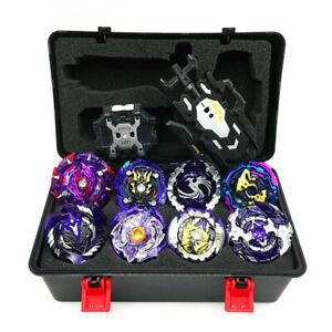 8pcs Purple Beyblade Burst Turbo Spinning Starter Grip Battle Launcher Box Set