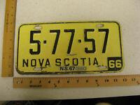 1966 66 1967 67 NOVA SCOTIA CANADA LICENSE PLATE #5-77-57