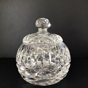 Crystal Trinket Box with Lid- Signed Tyrone on base and lid- MINT