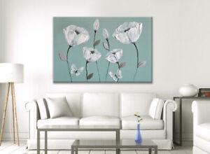 """36""""x24"""" BEAUTIFUL CANVAS WALL ART DUCK EGG BLUE GREEN GREY WHITE FLOWERS ZEN"""