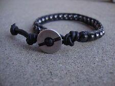 Men's Black Leather Beaded Bracelet Hematite Surfer Bracelet handmade USA