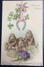 1913 old Dog PC BLOODHOUND Good Luck Horseshoe Clover Mistletoe a/s ULREICH