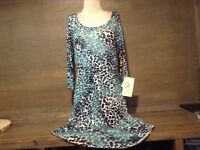 Miraclebody ANIMAL PRINT Women's 3/4 Sleeve Dress Size S M OR L NWT SLIMMING!!