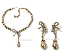 Heidi Daus Femme Fantastic Simulated Pearl Pavé Crystal Bow Necklace + Earrings