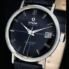 Omega Seamaster Cross Hair Black Deville Steel Mens Vintage Wristwatch