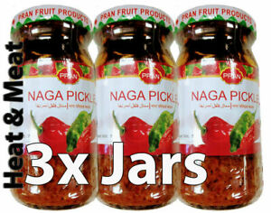 3x Pran Naga Pickle 200g - Extra Hot - Naga Chilli Pepper - Hot! HOT! Free P&P
