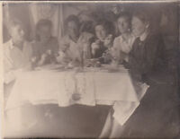 1940s RARE Little party festive table men women alcohol old Russian Soviet photo