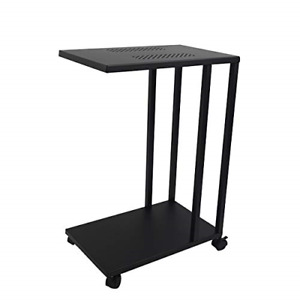 H JINHUI Side Tables Living Room, C Table on Wheels for Small Space, TV Trays to